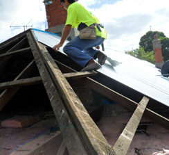 metal roofing during